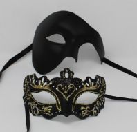Black and Gold Phantom Couples Masks